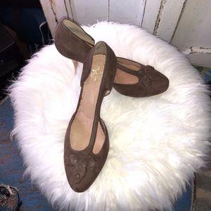 "Brown leather heels elegant soft 4"""